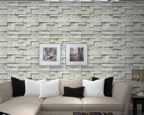 pvc vinyl modern faux brick stone  wallpaper living room