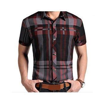 Camisa Masculina Xadrez Manga Curta Camisas masculinas