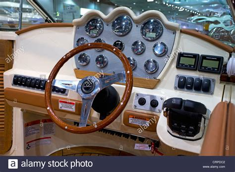 Boat Steering Wheel Location by Controls And Steering Wheel Of A Motor Boat On Show At The