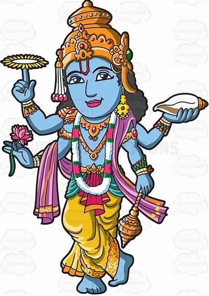 Hindu God Vishnu Clipart Deities Cartoon Gods