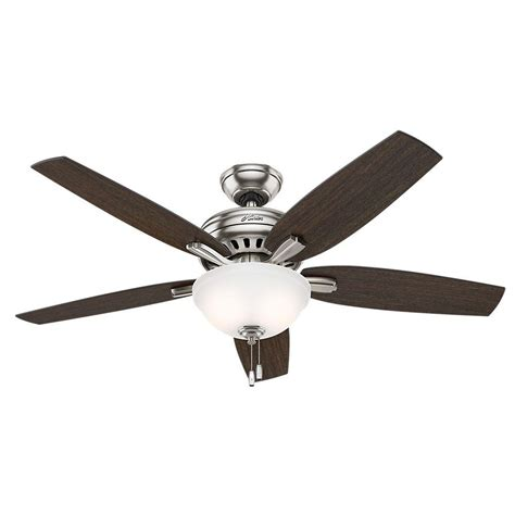 hunter 52 winslow brushed nickel ceiling fan hunter newsome 52 in indoor brushed nickel bowl light kit