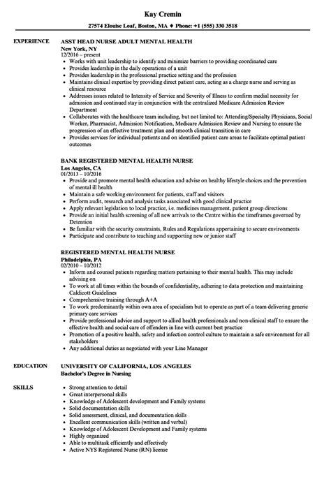 mental health nurse resume sles velvet