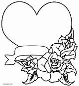 Coloring Pages Roses Rose Hearts Printable Cool2bkids sketch template