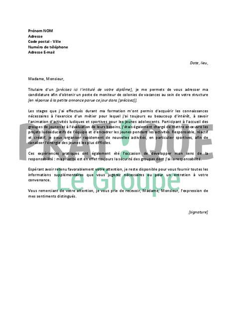 colonie cuisine lettre de motivation pour un emploi de moniteur de colonies de vacances débutant pratique fr