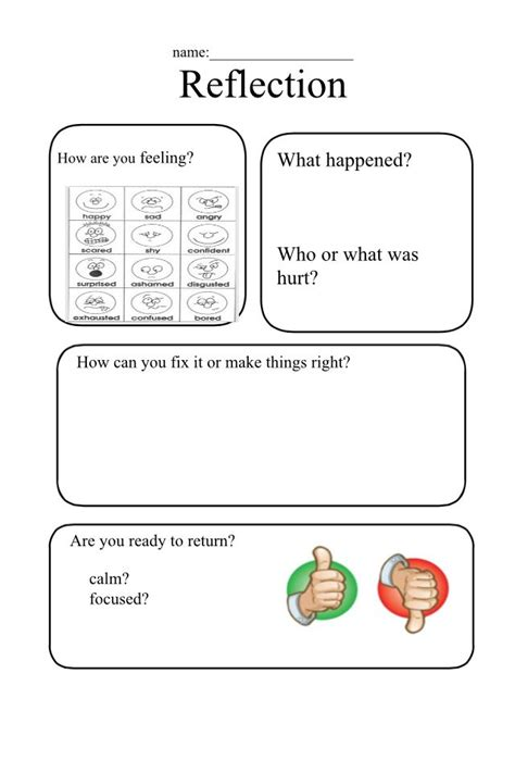 reflection sheet restorative practices restorative