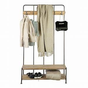 porte manteau vestiaire d39entree en metal et bois giro With superior meuble porte manteaux pour entree 4 meuble porte manteau