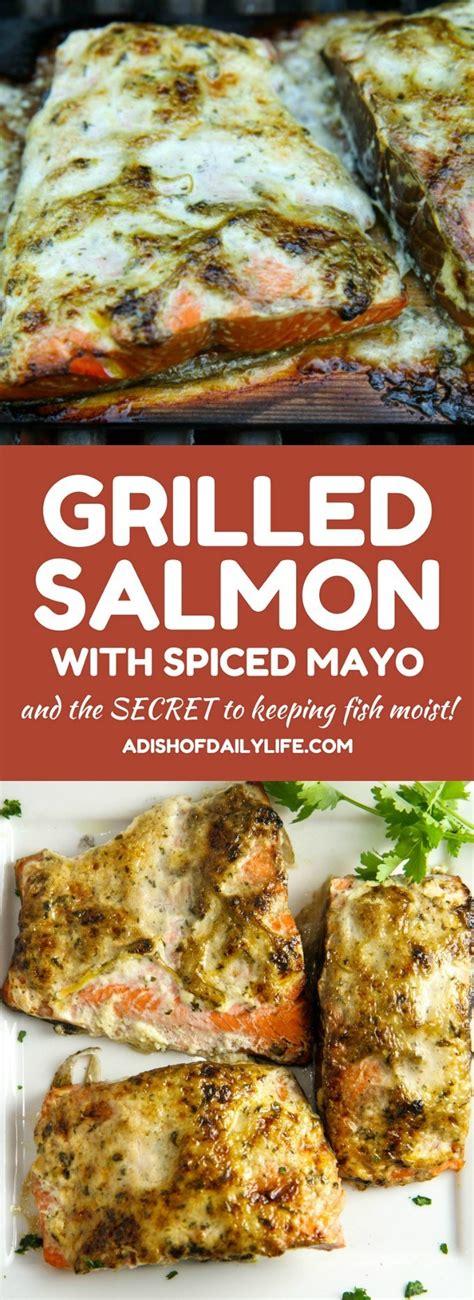 grilled salmon  spiced mayo  secret  moist fish