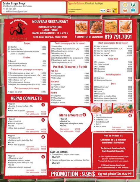Dragon Rouge Menu Cuisine Dragon Rouge Sherbrooke Qc 5156 Boul Bourque