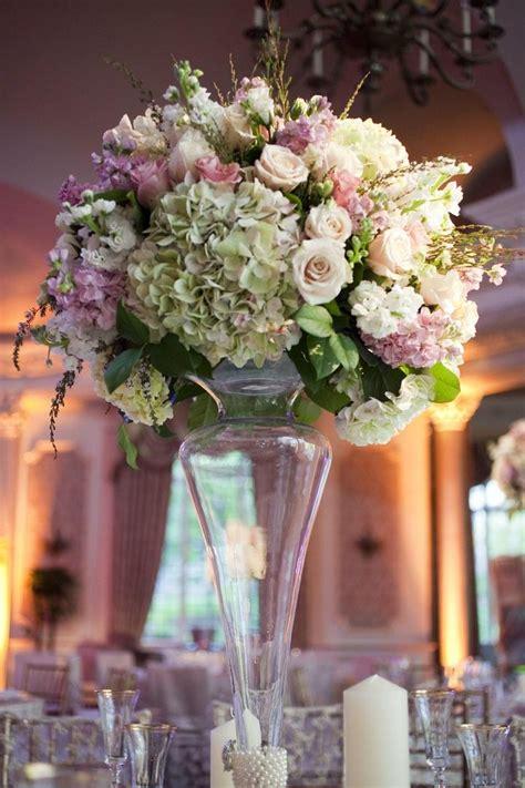reception decor  tall centerpiece  pink