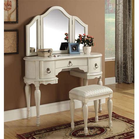 white vanity desk with mirror trini 3 pc vanity set tri fold mirror table stool bench