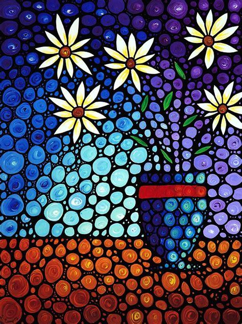 hide beautiful mosaic painting flower art print art prints  sharon cummings
