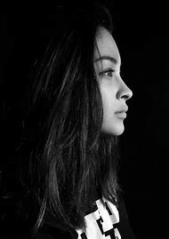 Black and White Profile Portrait Girl