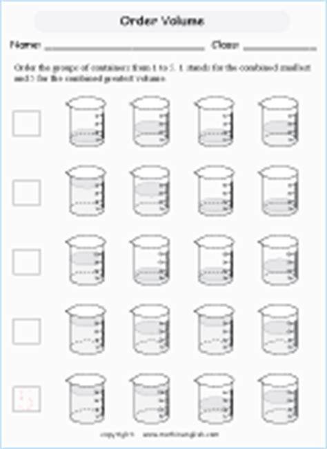 measuring beakers volume printable grade  math worksheet