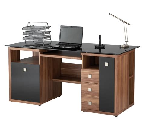 black home office desk saratoga walnut effect executive computer desk desk