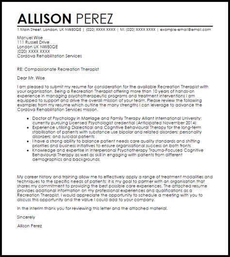 recreation therapist cover letter sample cover letter