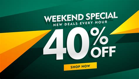 Sale Original weekend special sale banner design in green and yellow