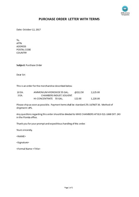purchase order letter  terms templates