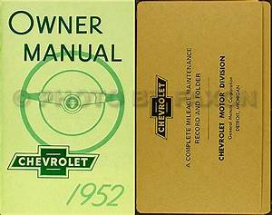 1952 Chevrolet Car Owners Manual With Envelope 52 Chevy