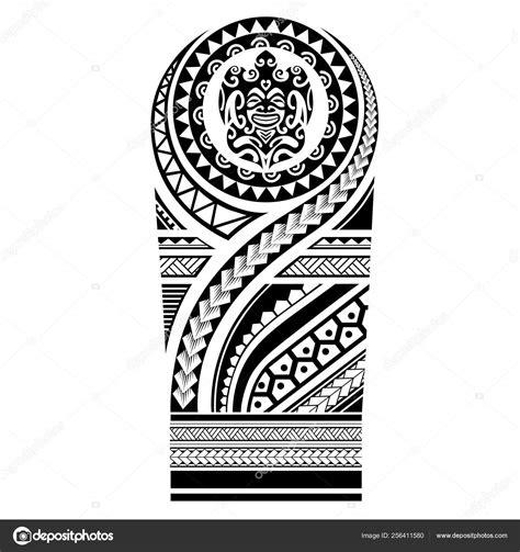 polynesian tattoo sleeve shoulder pattern vector samoan template forearm foot stock vector