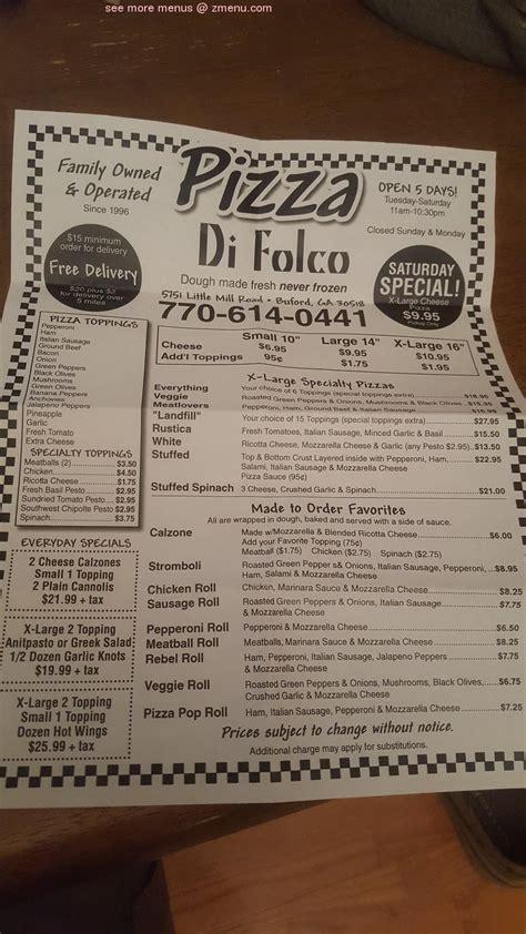 menu  pizza  folco restaurant buford georgia