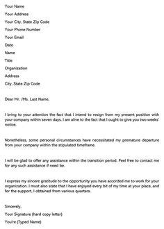 Two Week Resignation Letter Template Awesome Short Resignation Letter Zimerong in 2020