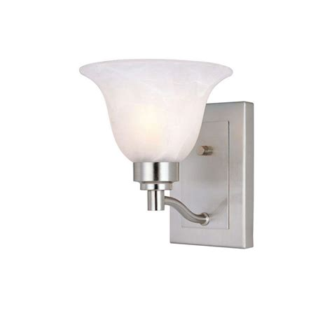 home depot interior lights westinghouse 1 light brushed nickel interior wall fixture with frosted white alabaster glass