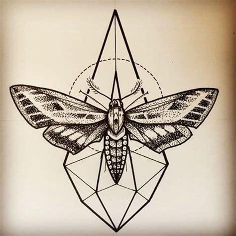 nice black  white moth  geometric figures tattoo