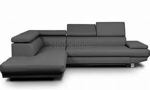 Canapé Convertible Design Pas Cher : grande canape d 39 angle design convertible pas cher pu gris lomande ~ Teatrodelosmanantiales.com Idées de Décoration