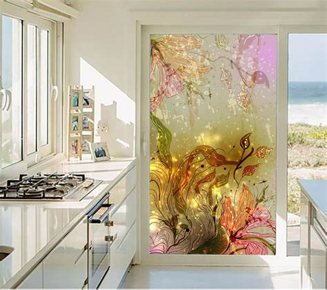 privacy stickers   window wardrobe sliding glass door stickers fashion flowers decorative
