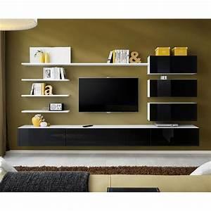 Meuble TV Mural Design QuotItalyquot 300cm Noir Blanc