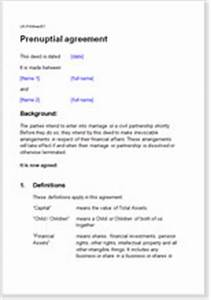 antenuptial agreement With antenuptial contract template