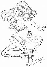 Coloring Dancing Adult Deviantart Anime Coloriage Colouring Sabinerich Drawing Flowing Disney Fairy Drawings Dessin Printable Lineart Angel Line Priestess Elf sketch template