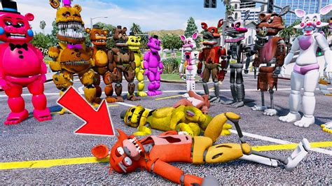 All Freddy Animatronics Vs All The Foxys! (gta 5 Mods For