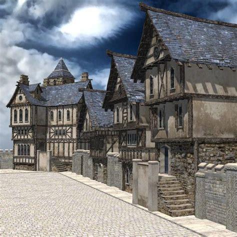 medieval street  ds obj unity vr ar ready cgtrader