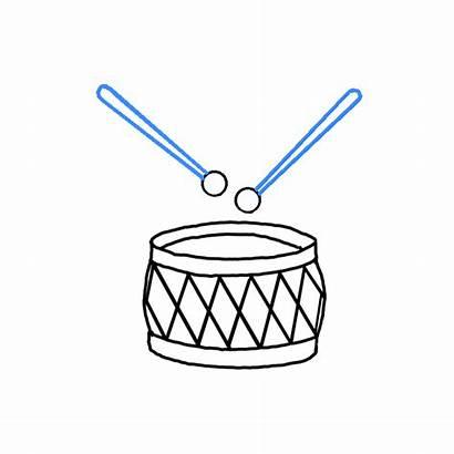 Drum Draw Sketch Drumsticks Easy Drawing Step