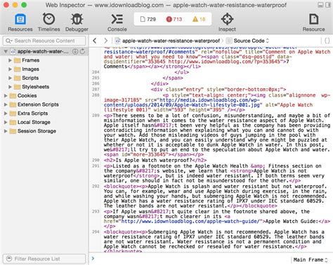 how to view the source code of a webpage in safari