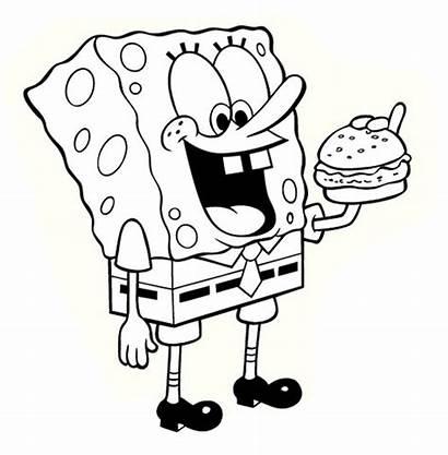 Cartoon Coloring Printable Hamburger Spongebob Pages Eating