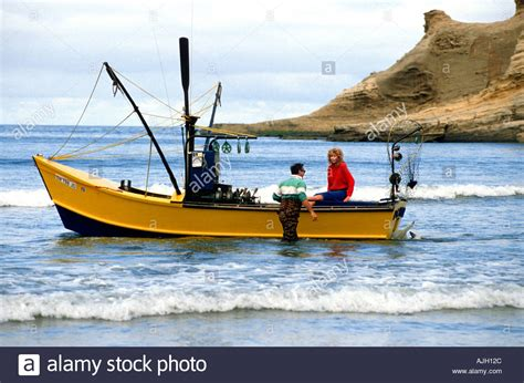 Dory Boat Cape Kiwanda by Dory Fishing Boats Cape Kiwanda Pacific City Oregon Stock