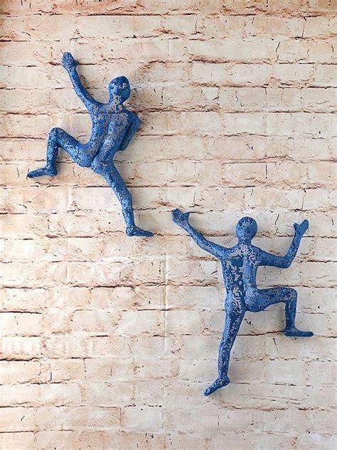 set of 2 climbing figures wall decor wall hanging metal rock climber sports decor