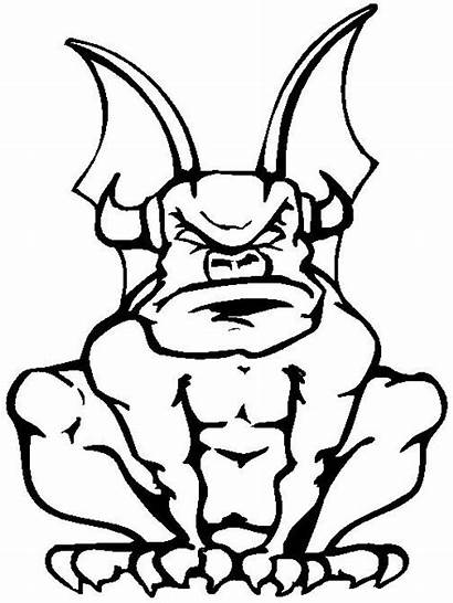 Coloring Gargoyle Pages Clipart Halloween Pattern Silhouette