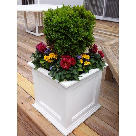 Square Outdoor Planters by Square Planter Large White Plastic Drainage Holes Self