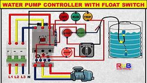 3 Phase Dol Starter Control And Power Wiring Diagram  Water Pump Controller With Float Switch