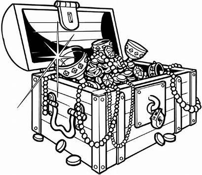 Treasure Chest Money Line Drawing Coloring Pirate