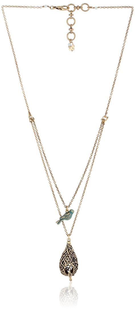 Lariat necklace choker thin chain choker bird coin teardrop y drop silver gold. Amazon.com: Lucky Brand Double Layer Birds Nest Necklace ...