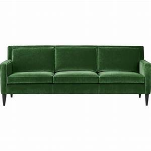 Rochelle sofa in sofas crate and barrel house stuff for Green velvet sofa for your modern living room