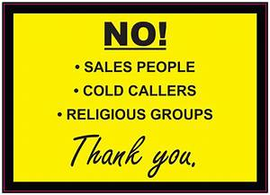 NO! Cold callers Sales People Religious Groups Sign ...