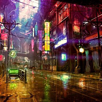 4k Street Cyberpunk Neon Digital Futuristic Cyber