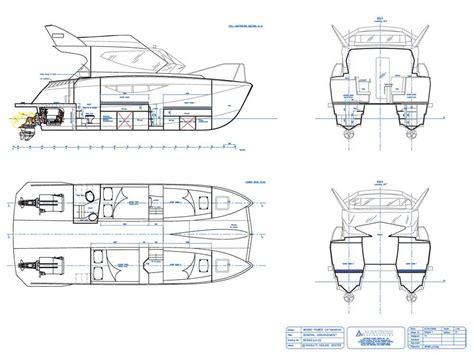 Catamaran Drawing by Warrior 30 Power Catamaran 9 90 Mts