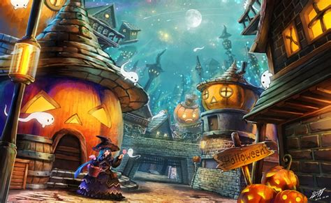 wallpaper anime girl halloween  pumpkin house moon