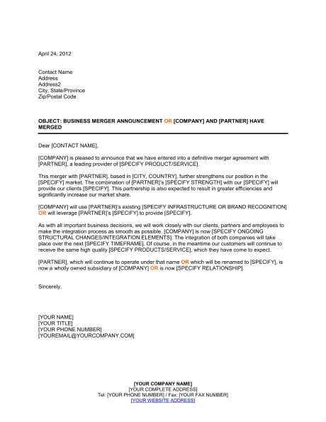 Company Merger Letter To Customers Template announcement of business merger template sle form